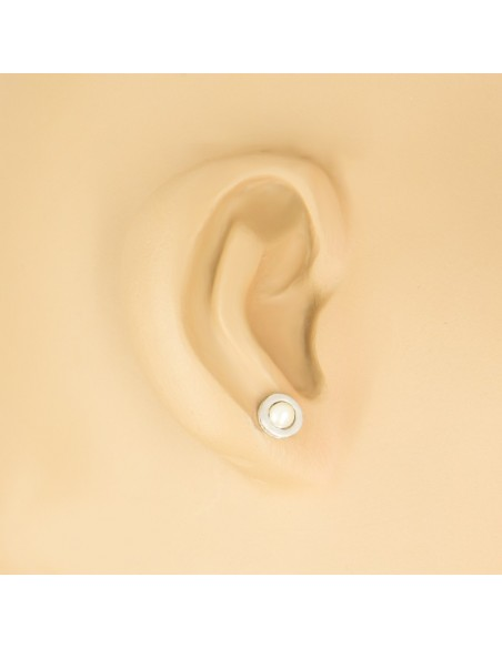 Pearl stud earrings of sterling silver ERLEC 2