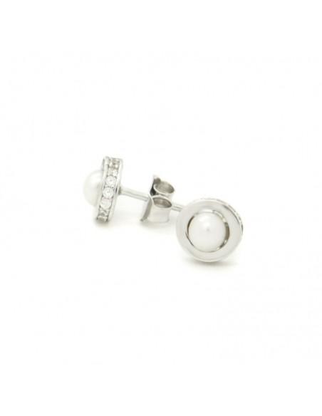 Pearl stud earrings of sterling silver ERLEC