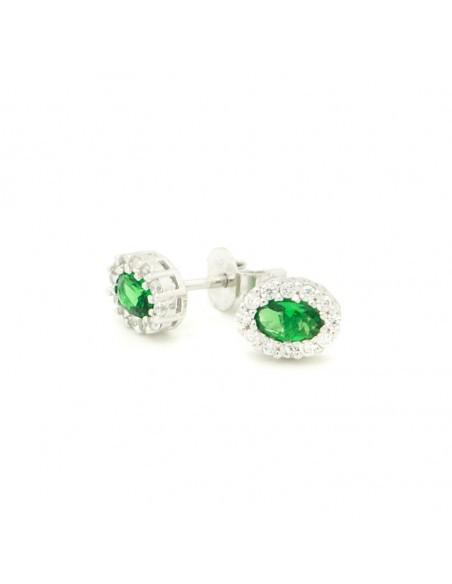 Σκουλαρίκια κουμπωτά οβάλ με πράσινη πέτρα από γνήσιο ασήμι O20140708