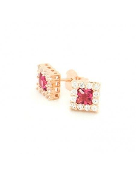 Ασημένια Σκουλαρίκια καρφωτά με ζιργκόν ροζ χρυσό SILVI