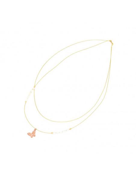 Silver Necklace rose gold plated PETALOUDA II 2