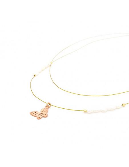 Silver Necklace  rose gold plated PETALOUDA II