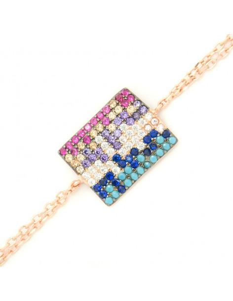 Βραχιόλι με ορθογώνιο στοιχείο από ροζ χρυσό ασήμι 925 A20140771