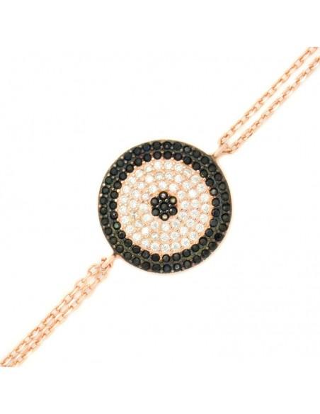 Βραχιόλι ματάκι στόχο από ροζ χρυσό ασήμι 925 CARLY