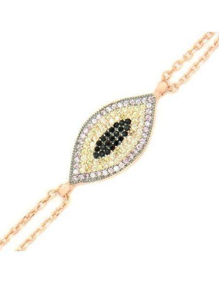 Nazar bracelet from rose gold plated silver 925 BOZEN