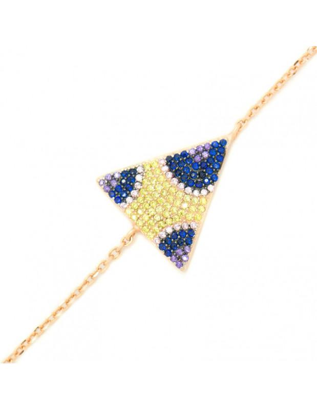 Βραχιόλι με τρίγωνο στοιχείο από ροζ χρυσό ασήμι 925 A20140796