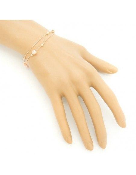 """Βραχιόλι """"DOUBLE"""" από ροζ χρυσό ασήμι 925 A20140799"""