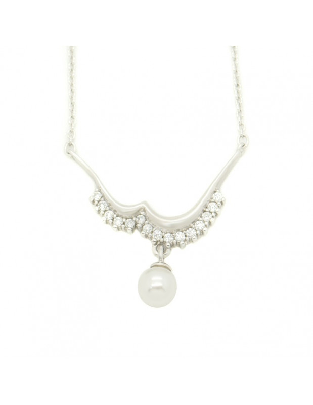 Halskette aus Silber mit Süßwasser Perlen Anhänger H20140831