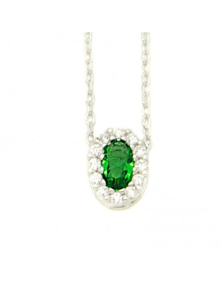 Silver Necklace with green crystal PERIO
