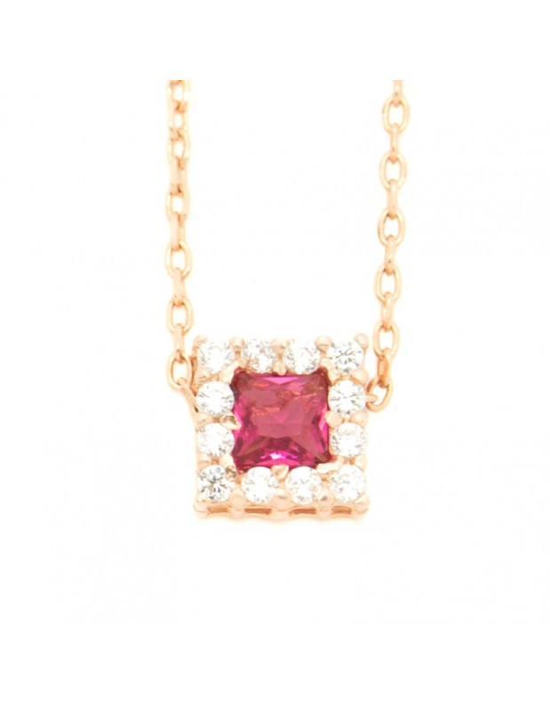 Silver Necklace with rose crystal rose gold BEVE