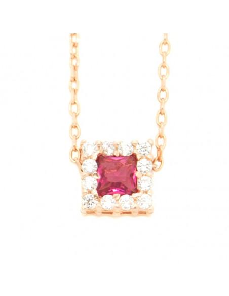 Κολιέ απο ασήμι με ροζ ζιργκόν ροζ χρυσό BEVE