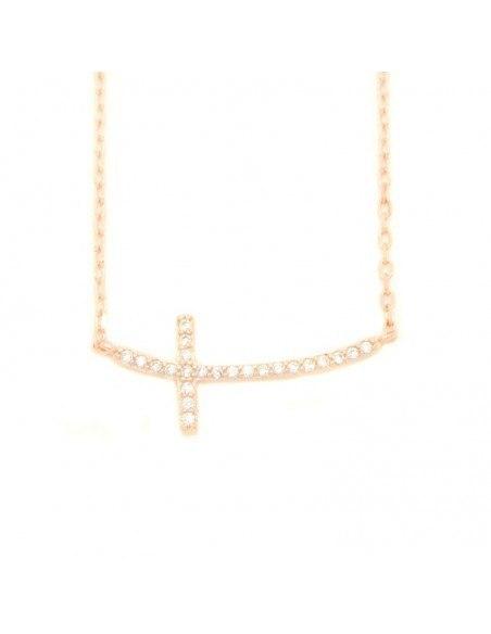 Κολιέ με σταυρό από ασήμι 925 ροζ χρυσό KLARI