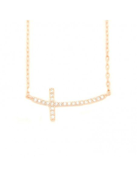 Cross Necklace of 925 silver rose gold KLARI