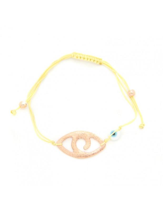 Armband mit gelbem Stoffband und rosévergoldetem Bronze Element A20140862