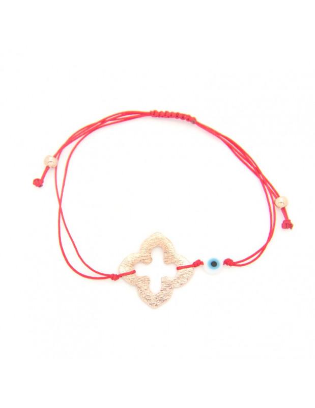 Armband mit rotem Stoffband und rosévergoldetem Bronze Element A20140863