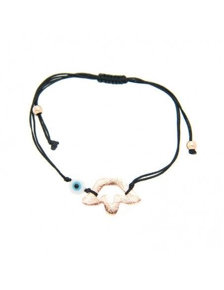 Armband mit schwarzem Stoffband und rosévergoldetem Bronze Element A20140864