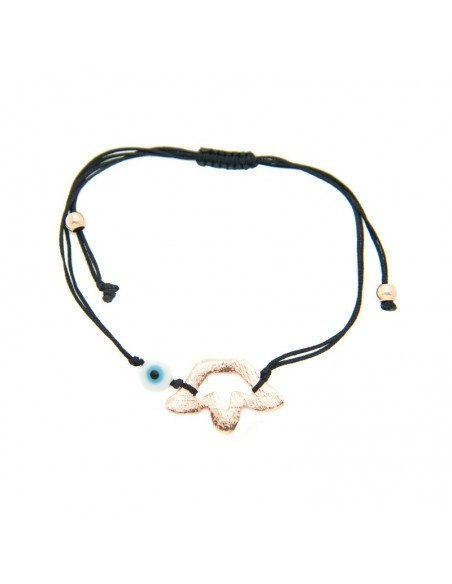 Bracelet with black fabric strap and rose gold plated bronze element A20140864