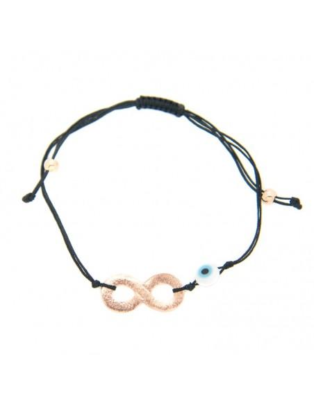 Armband mit schwarzem Stoffband und rosévergoldetem Bronze Element A20140865
