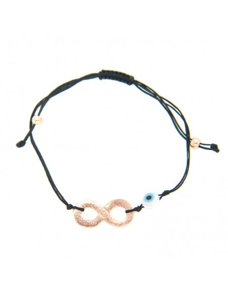 Bracelet with black fabric strap and rose gold plated bronze element A20140865