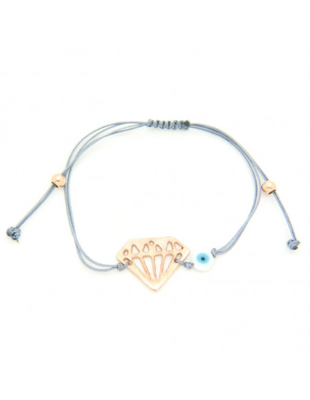 Bracelet with grey fabric strap and rose gold plated bronze element A20140866