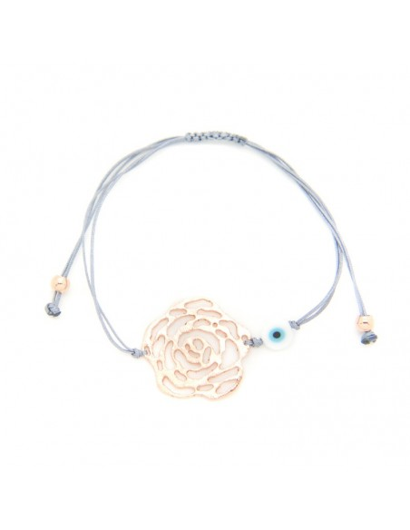 Bracelet with grey fabric strap and rose gold plated bronze element A20140867