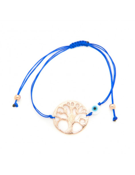 Bracelet with blue fabric strap and rose gold plated bronze element A20140868