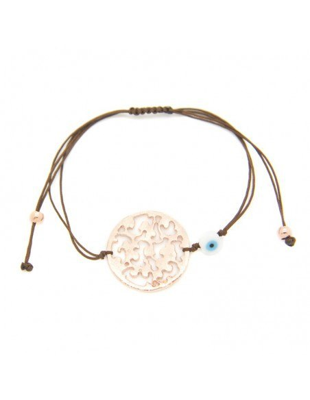Bracelet with brown fabric strap and rose gold plated bronze element A20140869