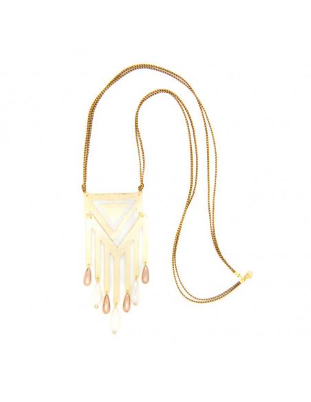 Long Necklace with big bronze pendant gold DER 3