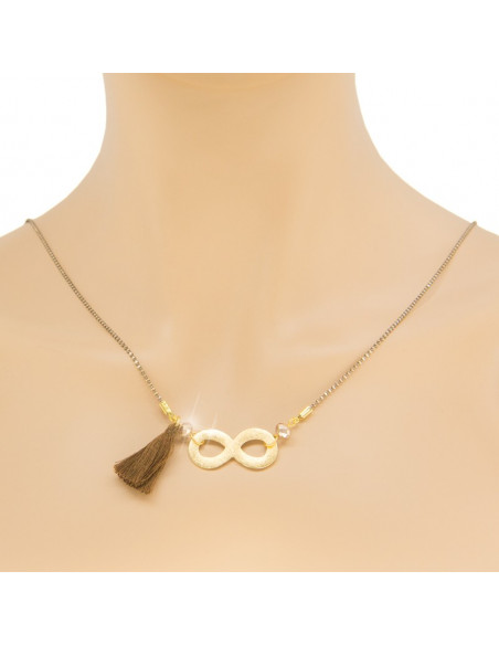 Necklace with long chain and gold plated bronze element INFINITY H20140943
