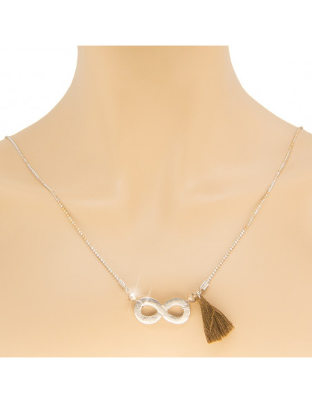 Long necklace with silver plated bronze element INFINITY 2