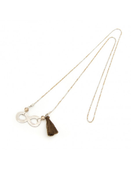 Long necklace with silver plated bronze element INFINITY 3