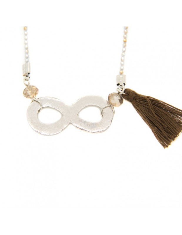 Long necklace with silver plated bronze element INFINITY