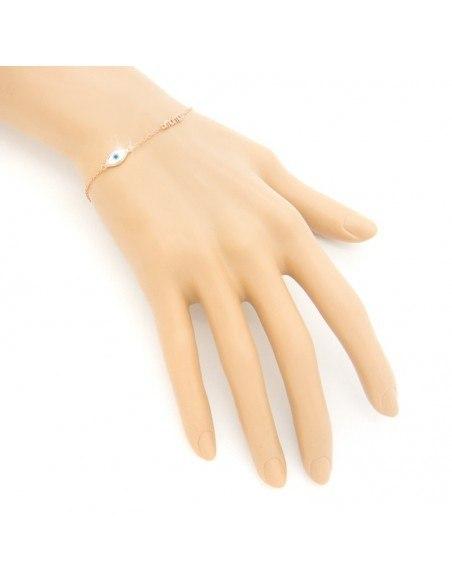 Kreuz-Nazar Armband aus rosévergoldetem Silber 925 A20140784