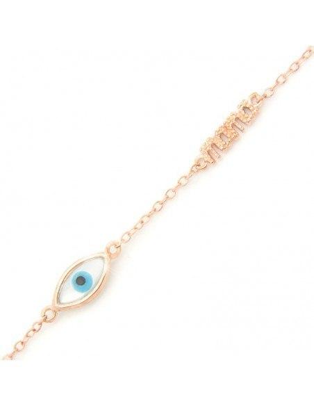 Βραχιόλι σταυρό με ματάκι από ροζ χρυσό ασήμι 925 A20140784