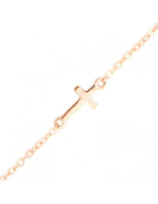 Βραχιόλι σταυρό από ασήμι 925 ροζ χρυσό A20140815