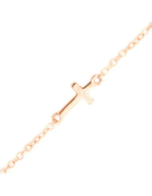 Cross bracelet of silver 925 rose gold plated A20140815