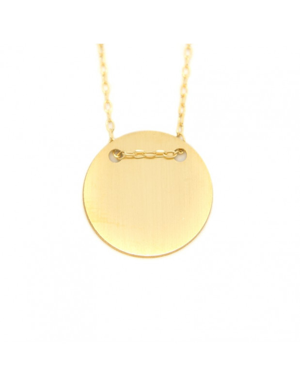 Silberkette vergoldet mit Rundem Anhänger H20140906