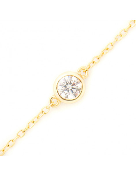 Silver bracelet gold plated with zirconia stone A20140828