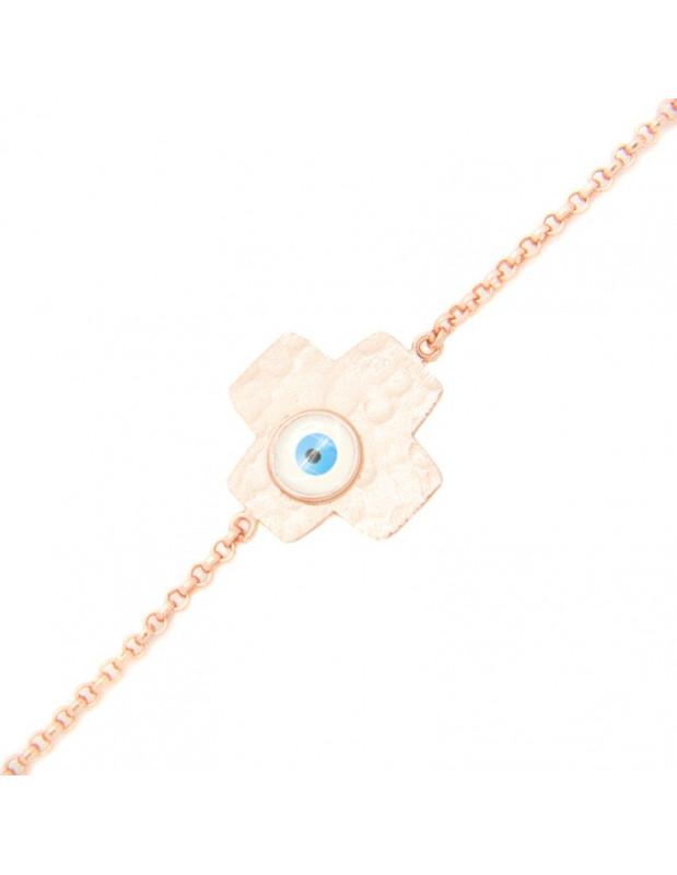 Βραχιόλι ματάκι με σταυρό από ροζ επίχρυσο γνήσιο ασήμι FLORENZ