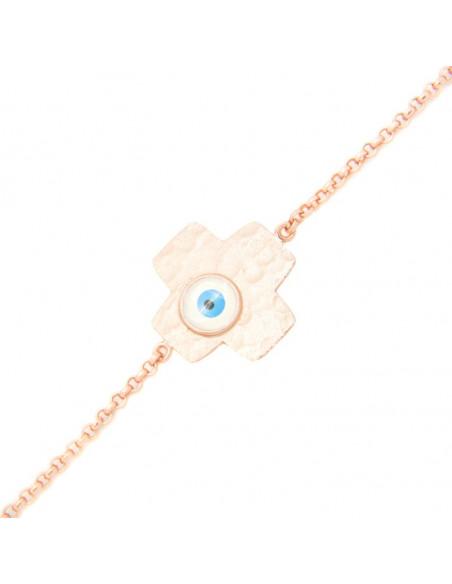 Bracelet Nazar Cross of rose gold plated sterling silver FLORENZ