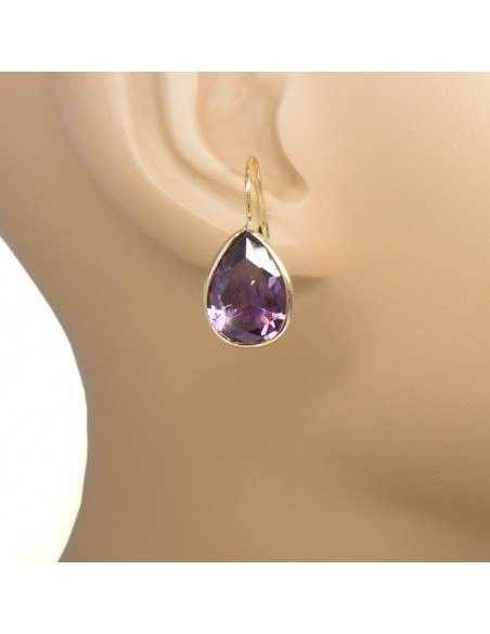 Silver earrings gold plated with big zirconia stone in drops shape O20140764