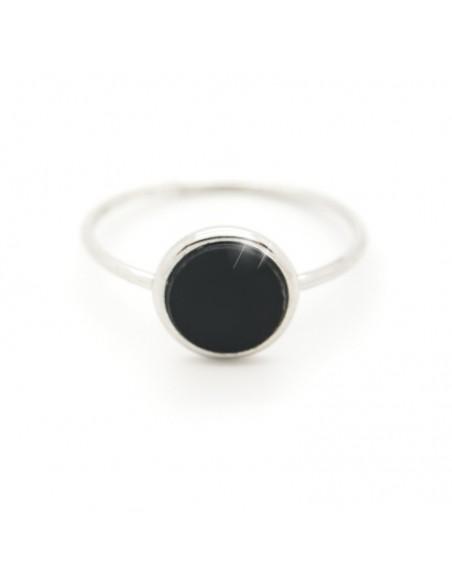 Δαχτυλίδι ασημένιο με μαύρο ψηφιδωτό ROUND R20140700