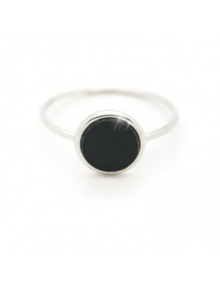 Silverring with black inlay ROUND R20140700