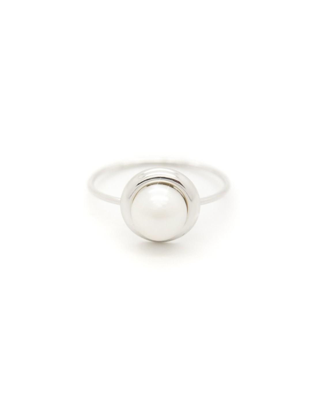 Δαχτυλίδι ασημένιο με γνήσιο μαργαριτάρι γλυκού νερού DUMIS R20140703 76db58ea096