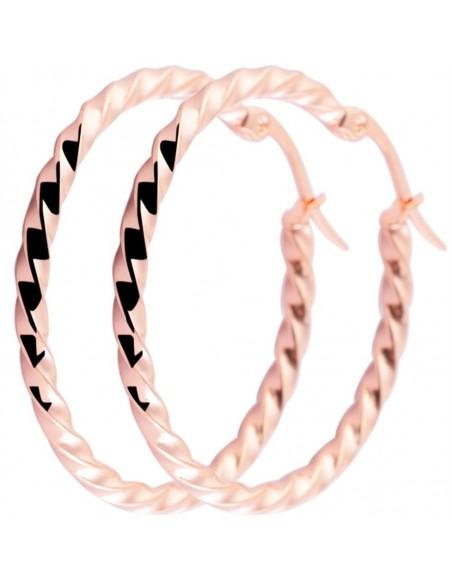 Σκουλαρίκια κρίκοι ροζ χρυσό 35 χιλιοστά O20140648