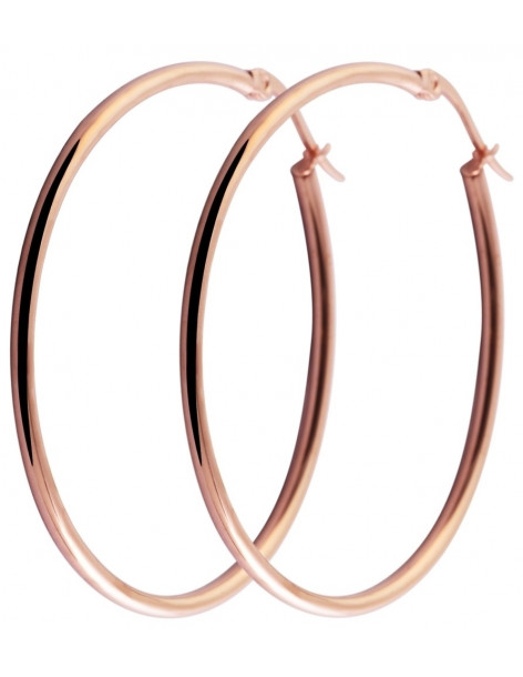 Hoop earrings rose gold plated 28mm O20140800