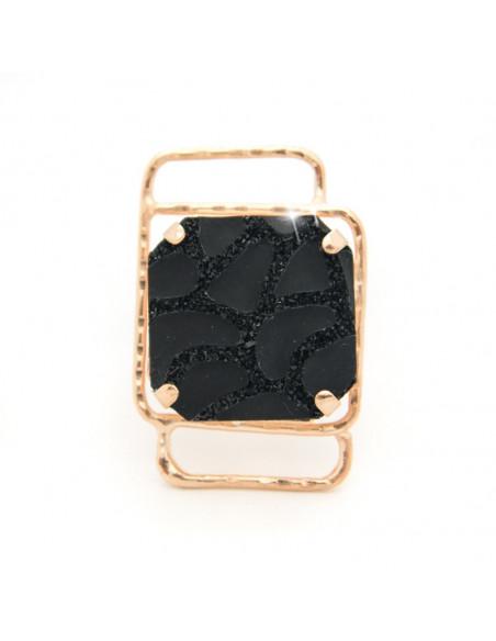 Ring aus Bronze mit schwarzem Stein rosegold FOUR