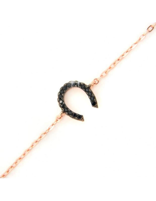 Hufeisen Silberarmband roségold vergoldet A20140708