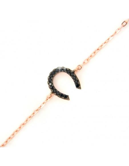 Ασημένιο βραχιόλι πέταλο ροζ χρυσό A20140708