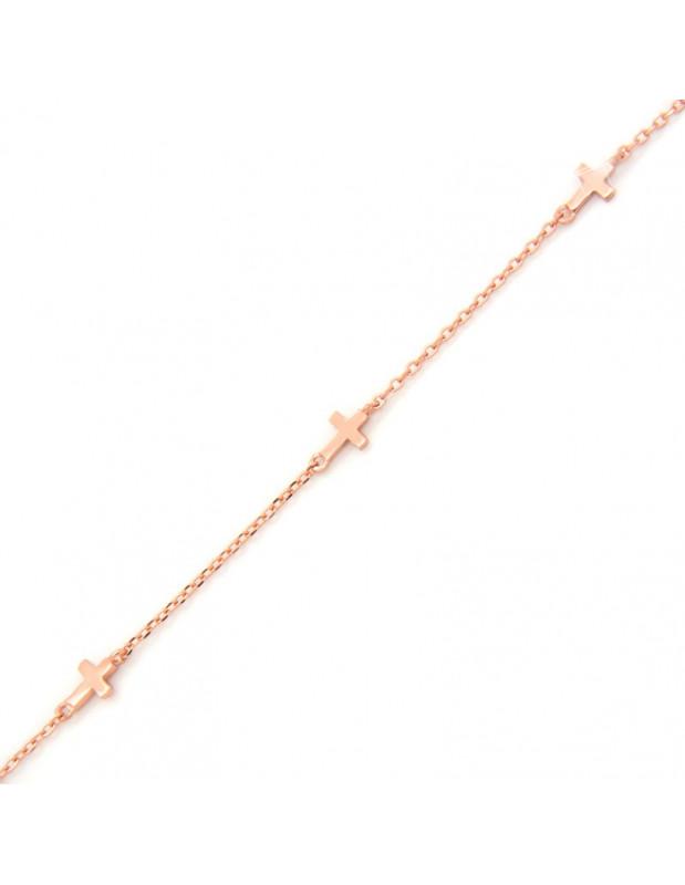 Βραχιόλι σταυρουδάκι από ασήμι 925 ροζ χρυσό A20140885